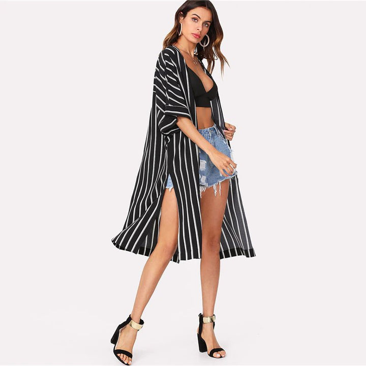Women's Summer Vertical Striped Longline 3/4 Sleeved Cover-Up