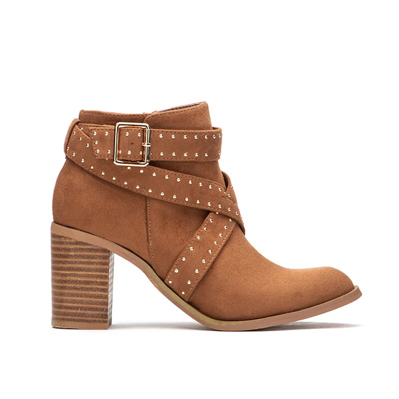 Women's Autumn/Winter Warm Square-Heeled Flock Ankle Boots With Buckles and Rivets