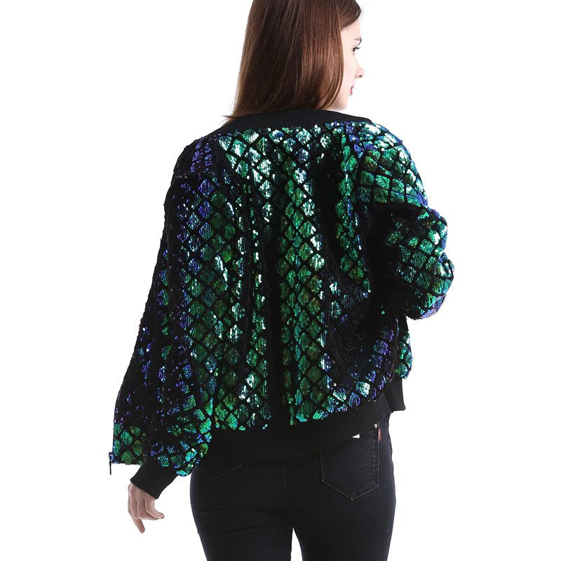 Women's Spring/Autumn Sequin Green Bomber