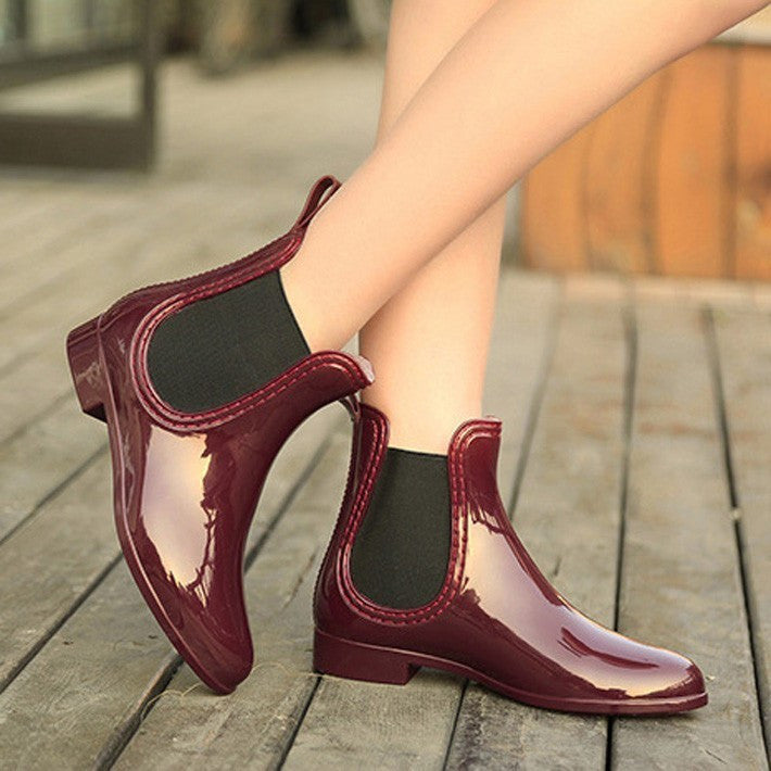 Women's PU Leather Round Toe Rain Boots - Zorket