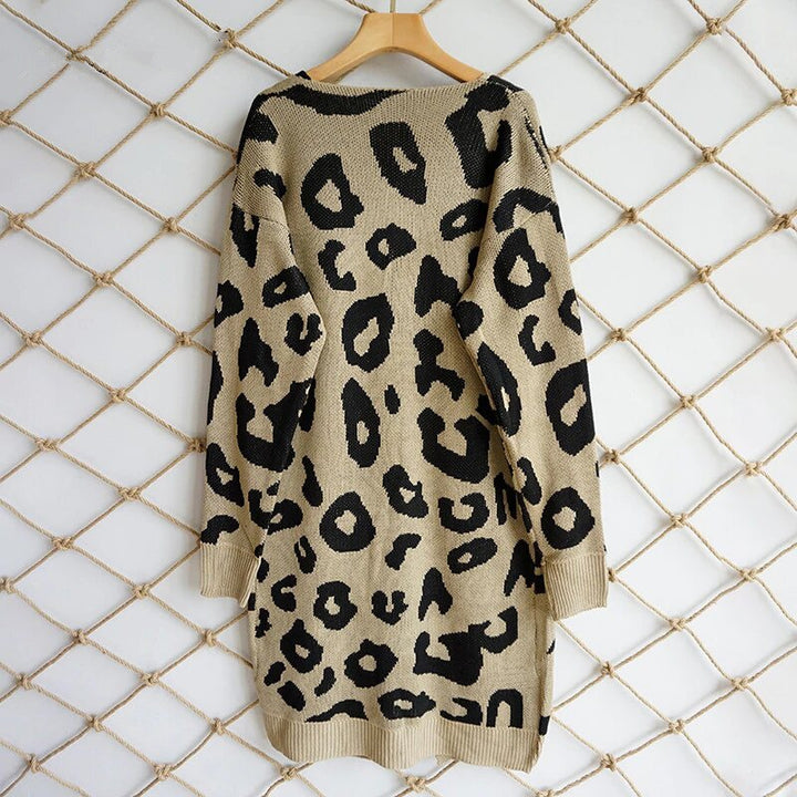 Women's Autumn Casual Knitted Slim Long Cardigan With Leopard Pattern