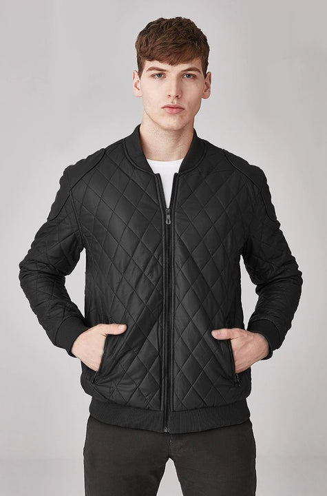 Men's Autumn/Winter Plaid Motorcycle Faux Leather Bomber