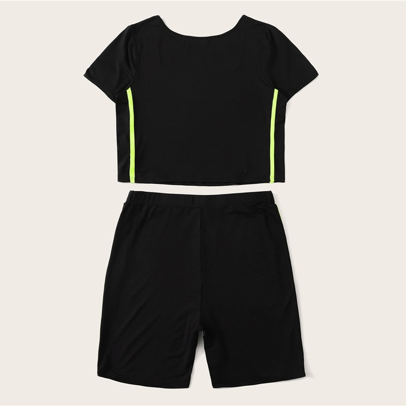 Women's Plus Size Sportswear Set | Square-Neck Top & Short