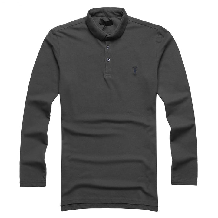 Men's Spring/Autumn Cotton Elastic Long-Sleeved Polo T-Shirt