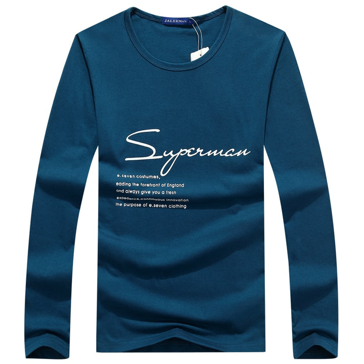 "Men's Summer O-Neck Long-Sleeved T-Shirt With ""Superman"" Printing"