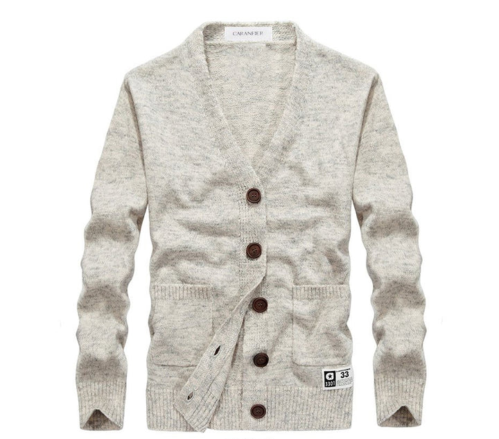 Men's Spring/Autumn Knitted V-Neck Slim Fit Wool Cardigan