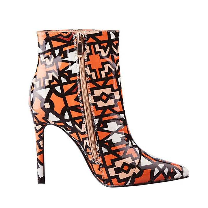 Women's Winter Patent PU Leather High-Heeled Ankle Boots With Geometric Pattern