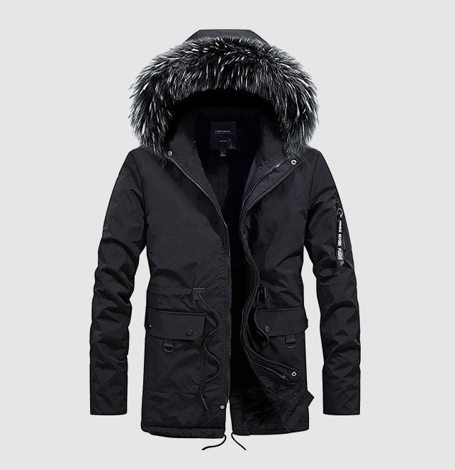 Men's Winter Cotton Hooded Padded Long Parka