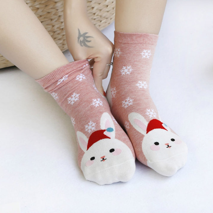 Women's Autumn/Winter Short Socks With Christmas Pattern