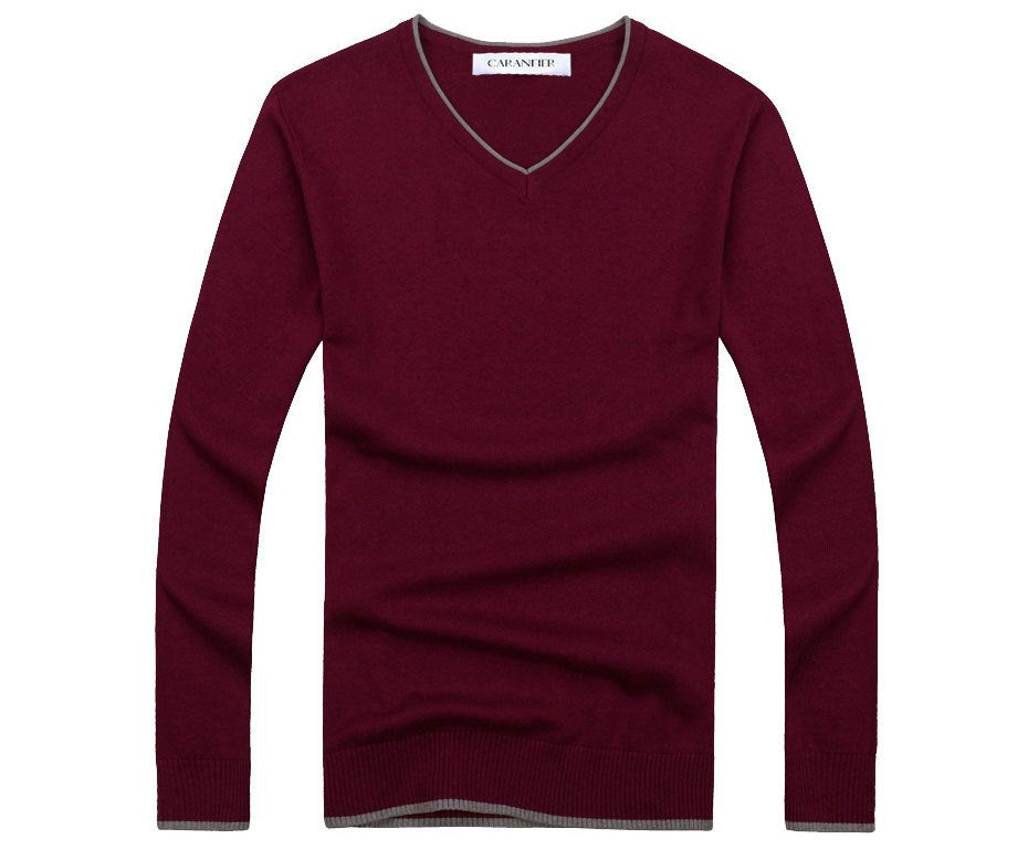 Men's Autumn V-Neck Cotton Casual Pullover