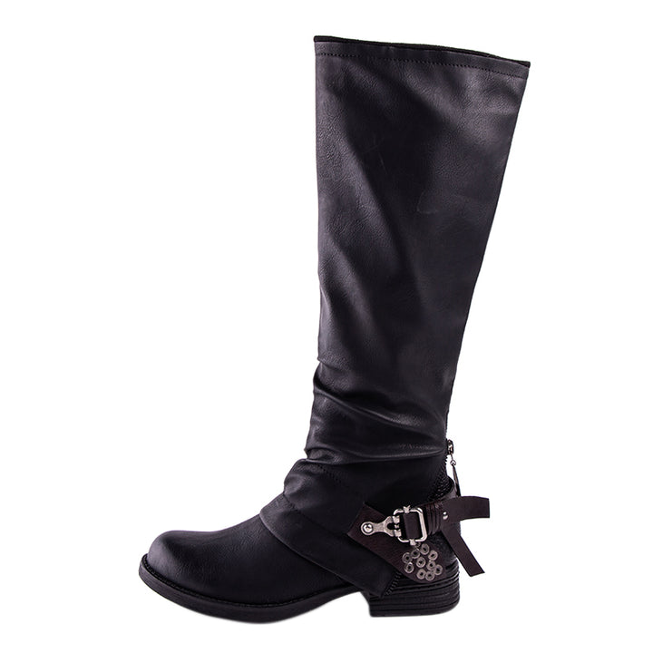 Women's Winter PU Leather Knee-High Boots With Buckles