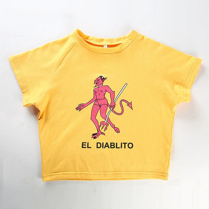 "Women's Summer O-Neck Cotton Short-Sleeved T-Shirt With ""El Diablito"" Printing"
