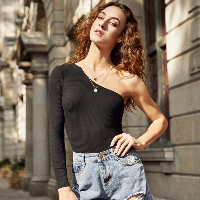 Women's Autumn Rib Knit One Shoulder Long-Sleeved Bodysuit