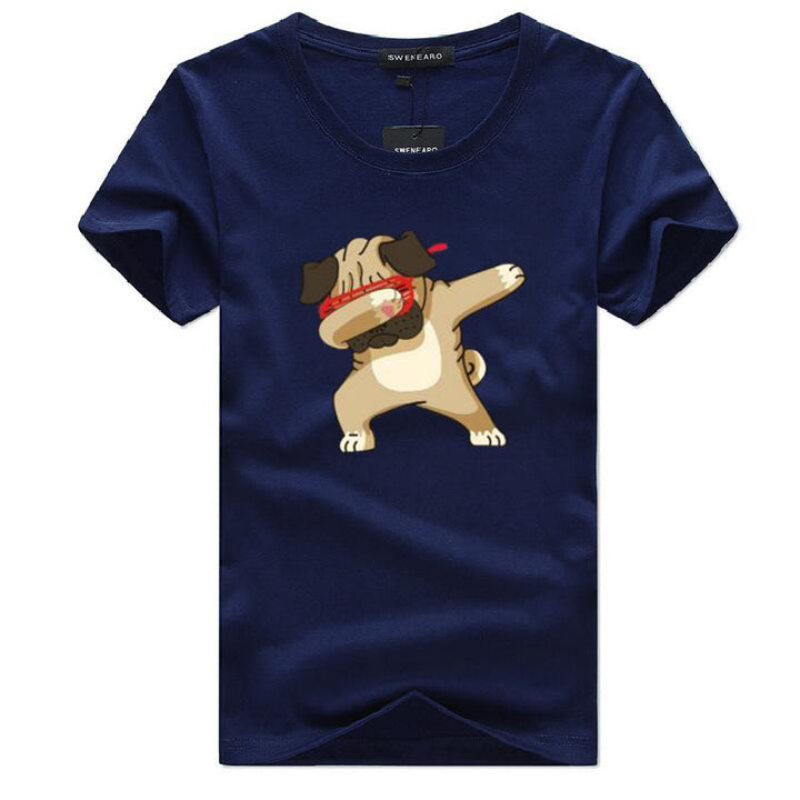 Men's Summer O-Neck T-Shirt With Printed Pug-Dog
