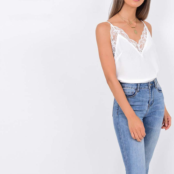Women's Spring/Summer V-Neck Lace Tank Top