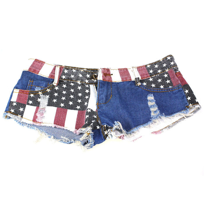 Female Casual Denim Shorts With US Flag - Zorket