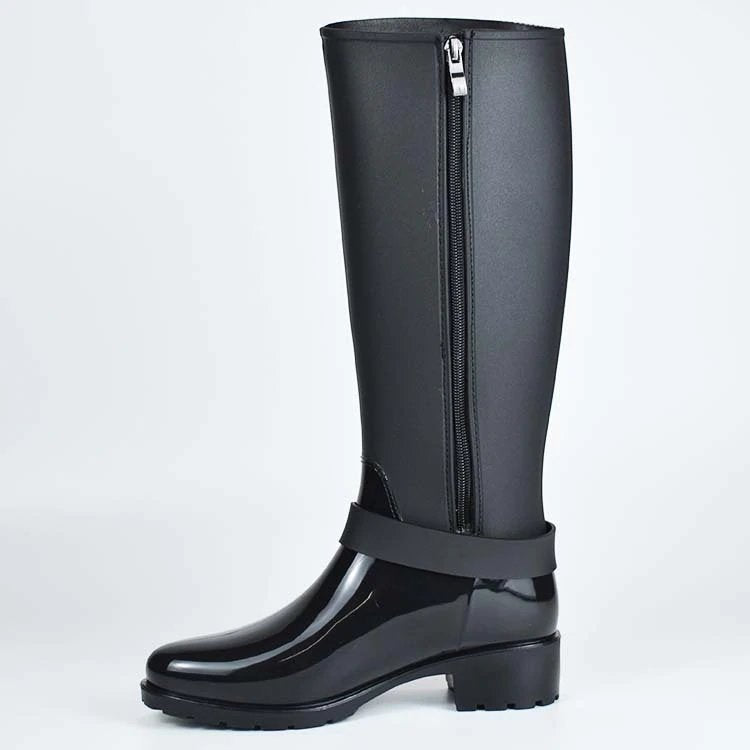 Women's Spring/Winter Mid-Calf Rubber Boots With Decorative Buckles