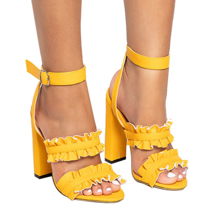 Women's Summer PU Leather Square-Heeled Ruffled Sandals