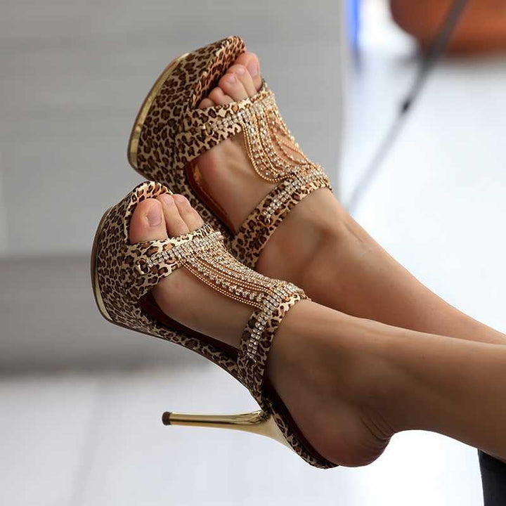 Female High Heels Flip Flops With Leopard Pattern - Zorket