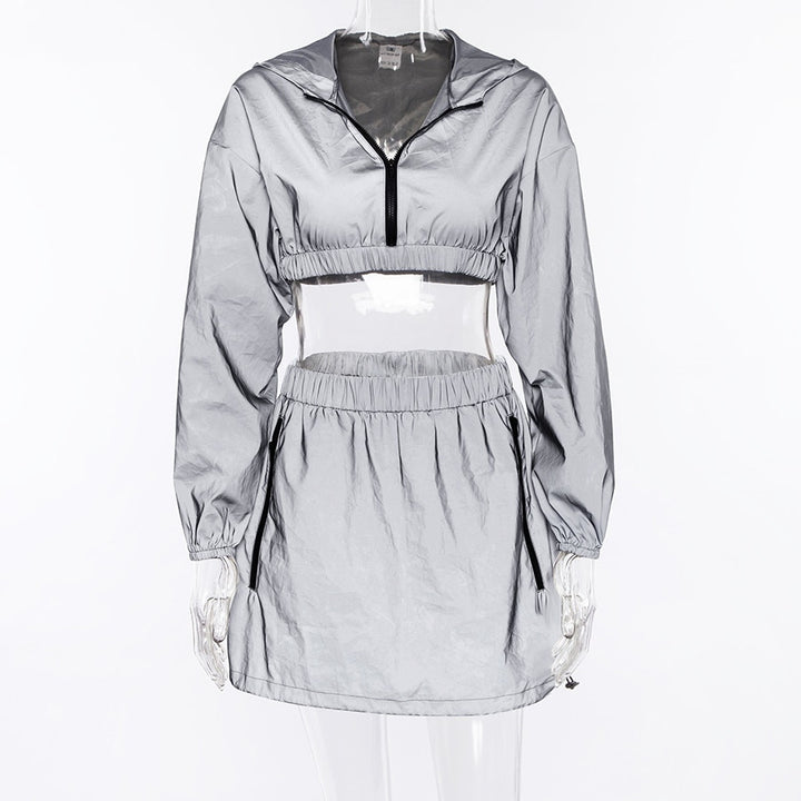 Women's Spring/Autumn Reflective Hooded Two-Pieces Suit | Cropped Windbreaker & Skirt