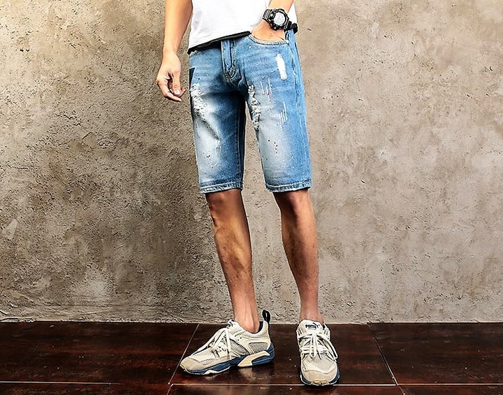 Men's Summer Casual Ripped Denim Shorts