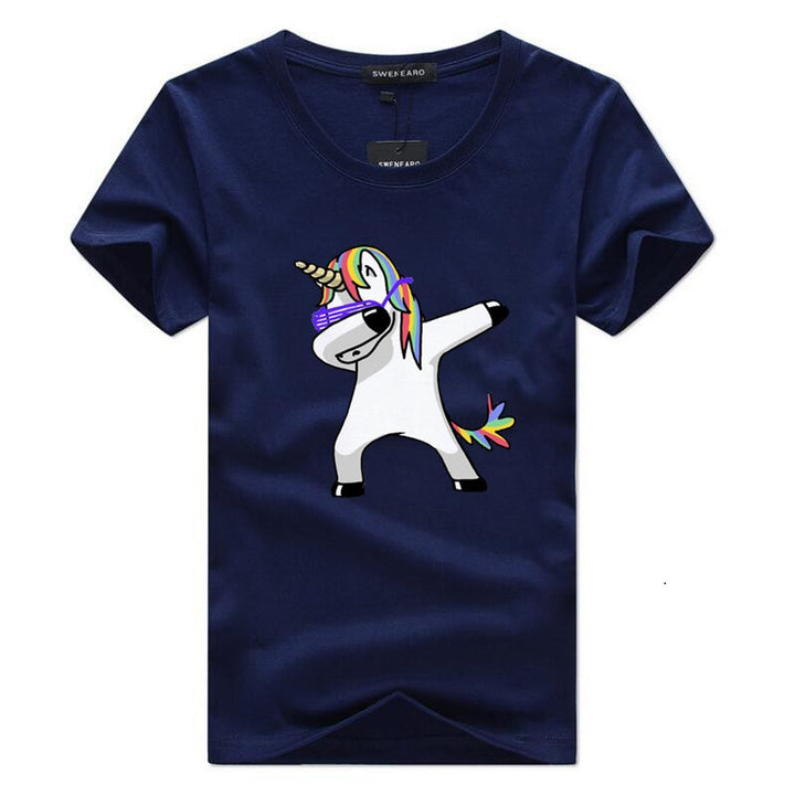 Men's Summer Cotton O-Neck T-Shirt With Printed Cartoon Unicorn