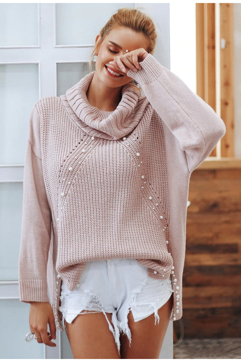 Women's Autumn/Winter Knitted Sweater With Beading Pearl