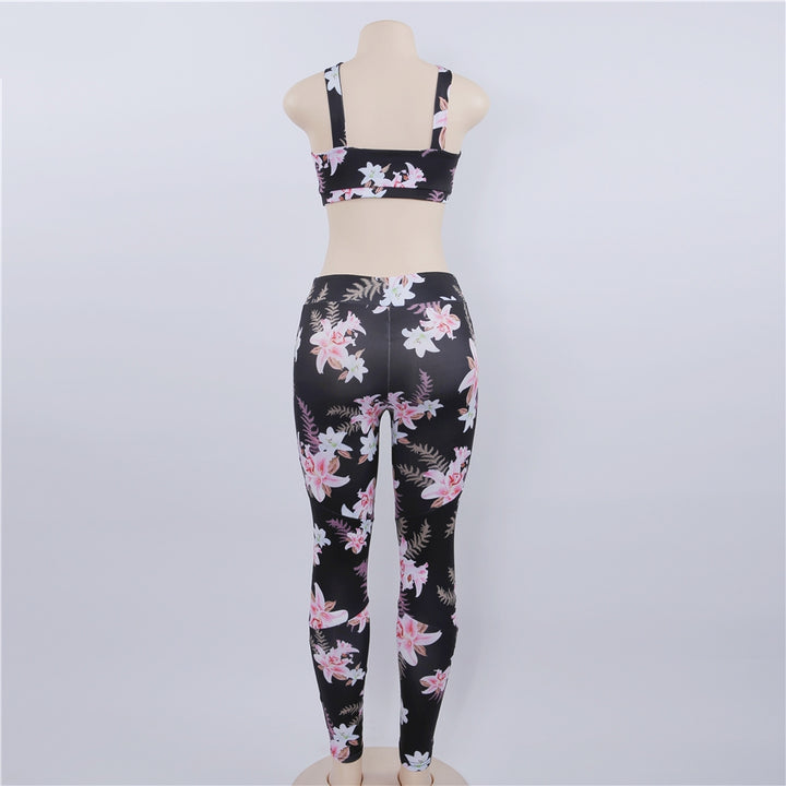 Women's Summer Stretch Fitness Set With Floral Pattern | Crop Top & Leggings