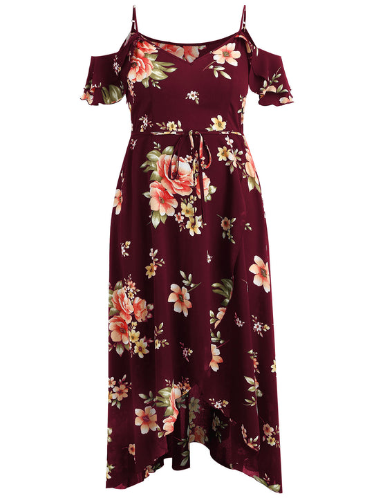 Women's Summer Off-Shoulder Beach Dress With Floral Print