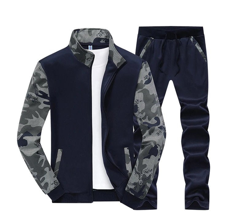 Men's Spring Cotton Tracksuit With Camouflage Sleeves | Men's Sportwear