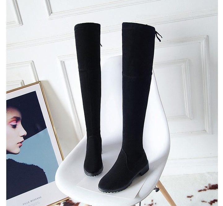 Women's Autumn/Winter Flock Stretch Over-the-Knee High Flat Boots