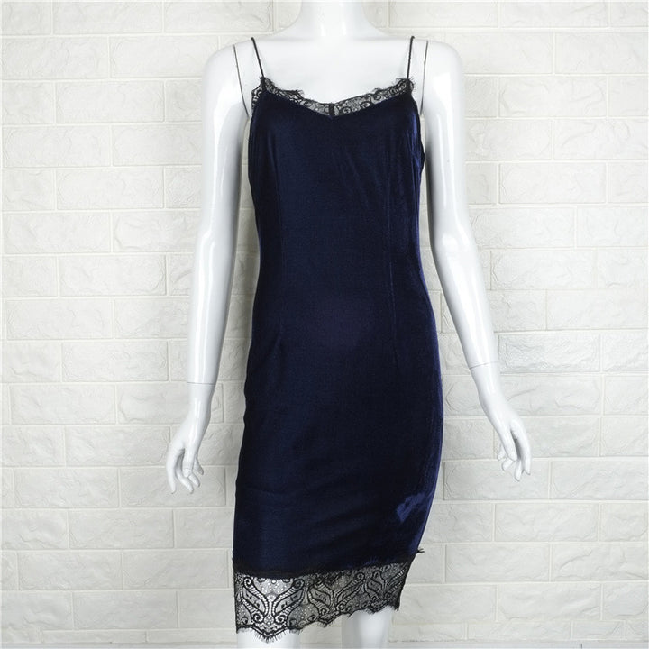 V-Neck Velvet Dress With Lace - Zorket