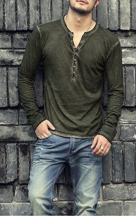 Men's Cotton Casual Long Sleeve Vintage T-Shirt - Zorket