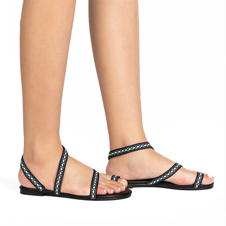 Women's Summer PU Leather Flat Gladiator Sandals With Ethnic Embroidery