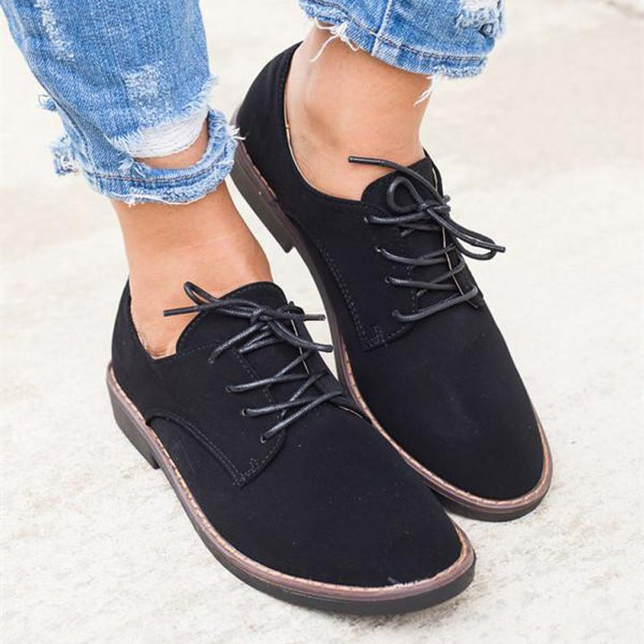 Women's Spring/Autumn Casual Flock Cross-Tied Flat Shoes