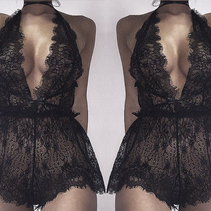 Women's Deep V-Neck Nightdress | Black Lace Nightgown