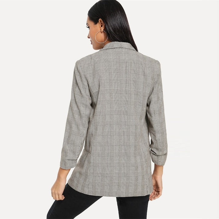 Women's Spring/Autumn Basic Plaid Coffee Blazer With Shawl Collar