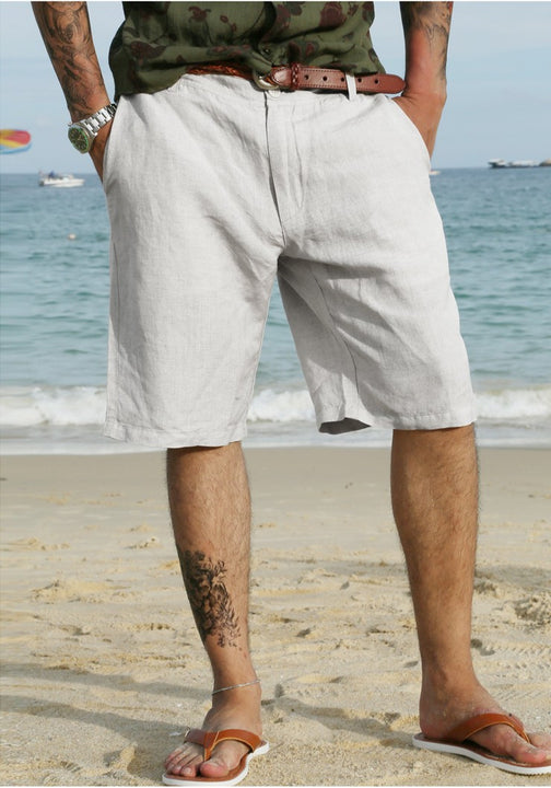 Men's Summer Linen Knee Length Shorts - Zorket