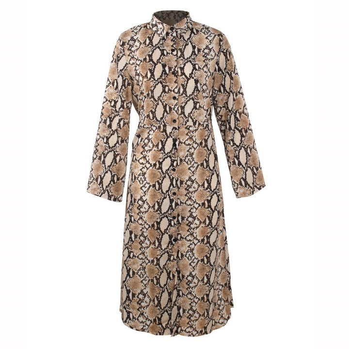 Women's Spring/Summer Chiffon Single-Breasted Long-Sleeved Maxi Dress With Snake Print