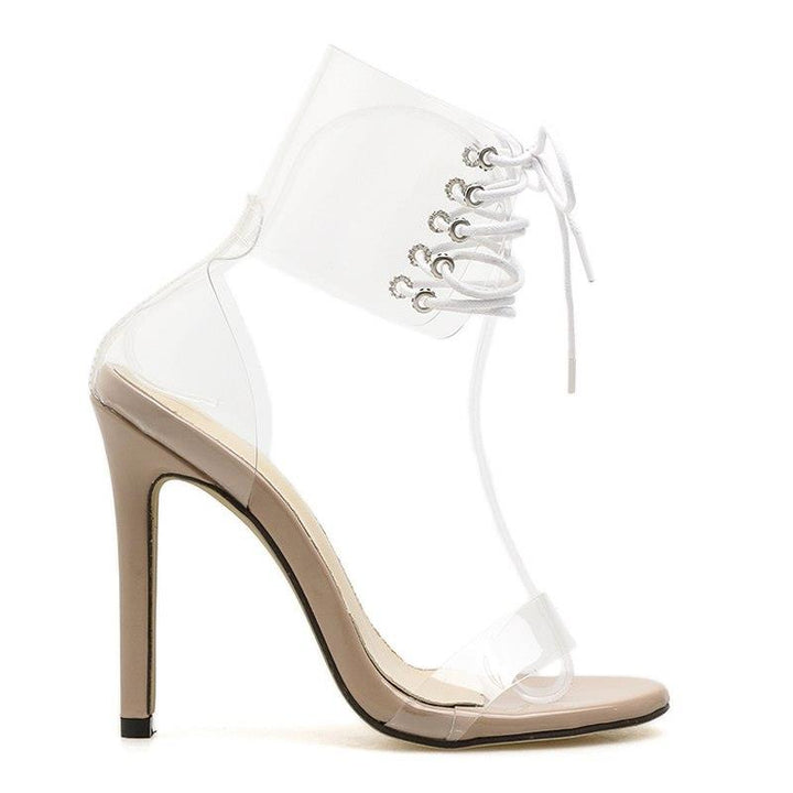 Women's Summer Cross-Tied High-Heeled Transparent Sandals