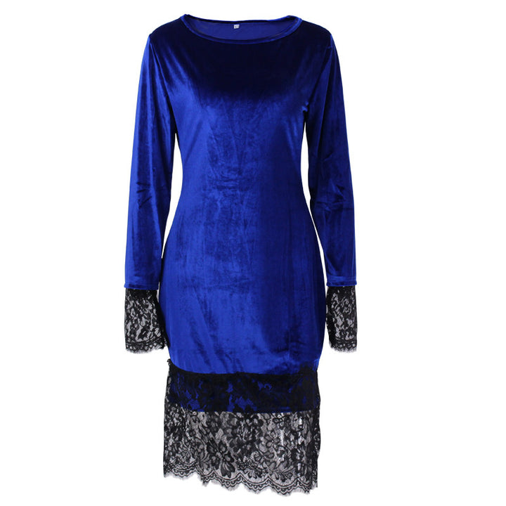 Women's Velvet Midi Dress With Lace - Zorket