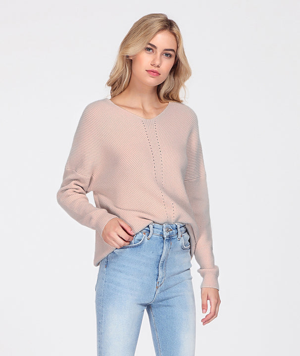 Women's Autumn/Winter Knitted V-Neck Cashmere Pullover