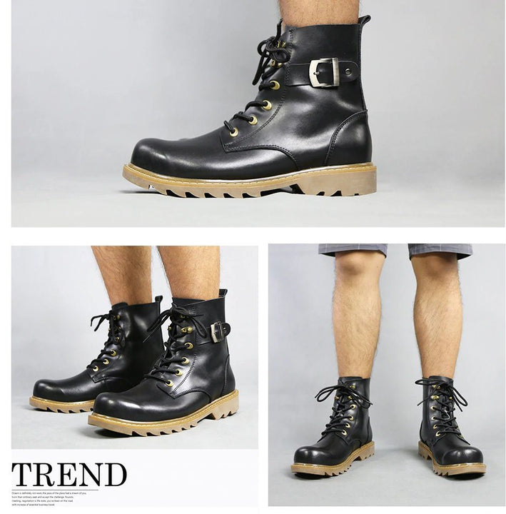 Men's Winter Genuine Leather Motoboots Shoes