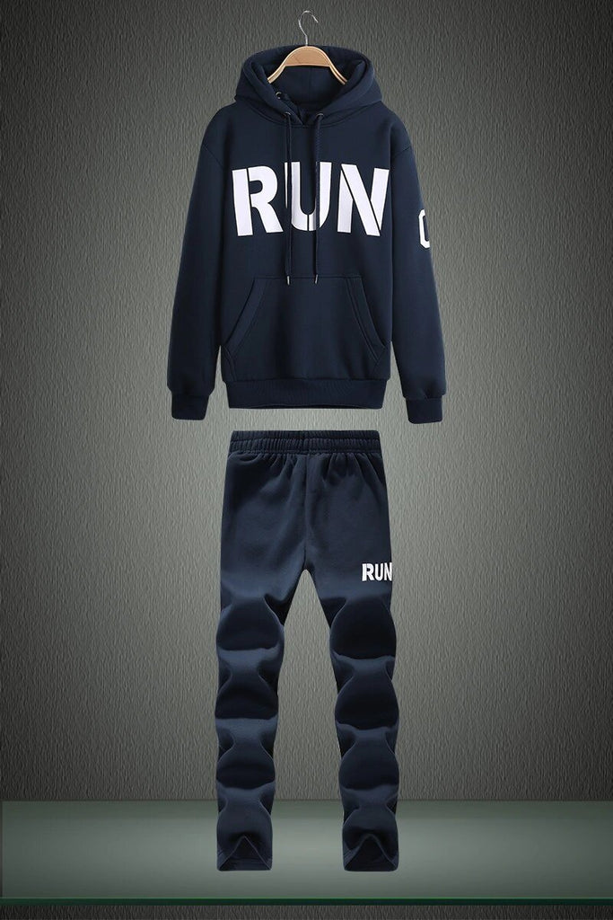 "Men's Spring/Autumn Hooded Tracksuit With Printed ""RUN"""