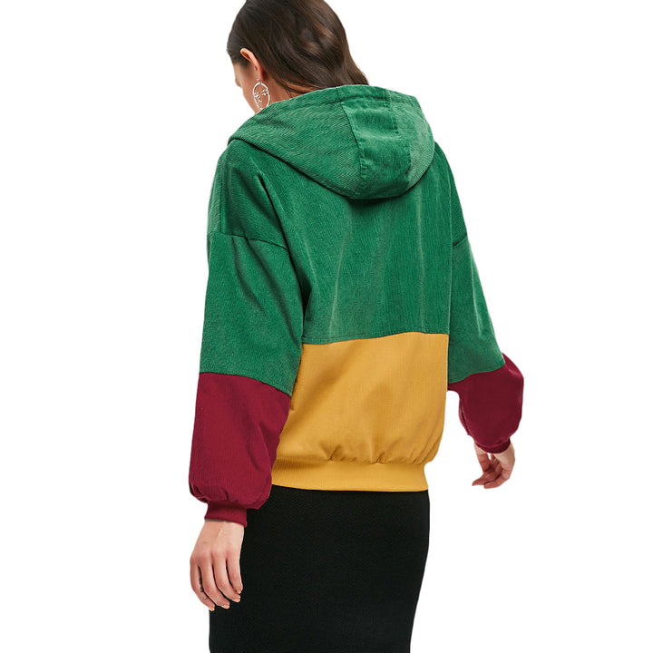 Women's Spring/Autumn Multicolored Hooded Corduroy Coat