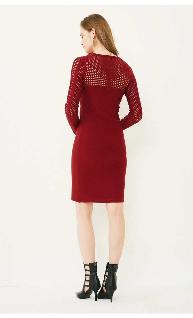 Women's Spring/Autumn Stretch Slim Fit Knitted Dress