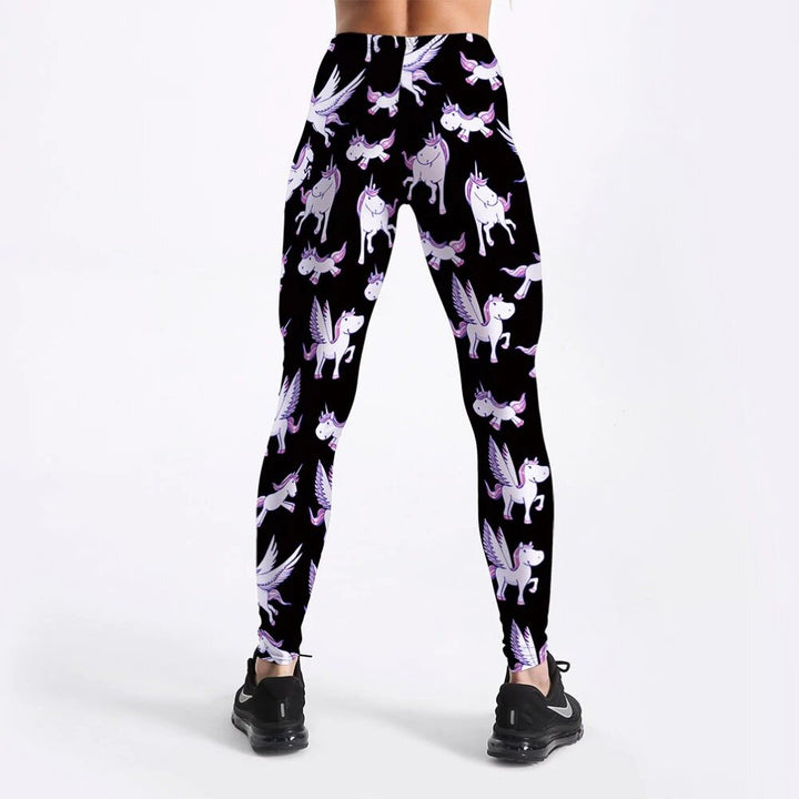 Women's Spring/Autumn High Waist Fitness Leggings With Printed Unicorns