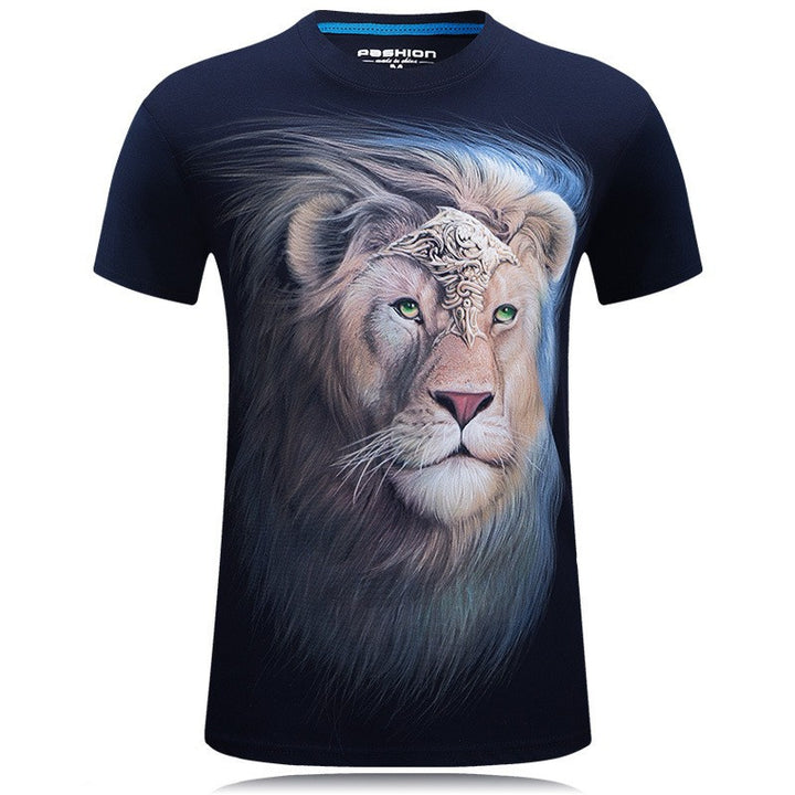 Men's Summer Short-Sleeved T-Shirt With 3D Digital Printed Animals