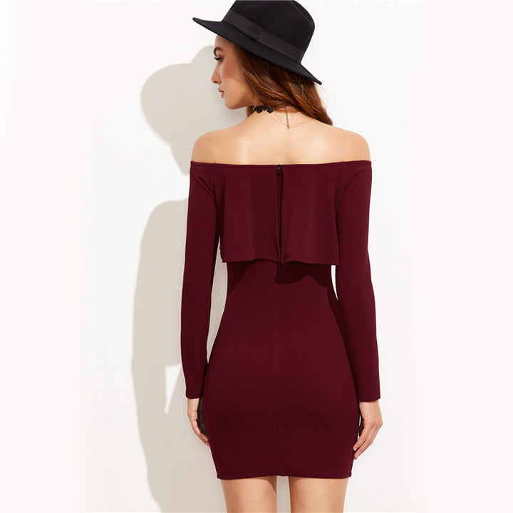 Women's Autumn/Winter Off-Shoulder Long-Sleeved Mini Dress With Ruffles