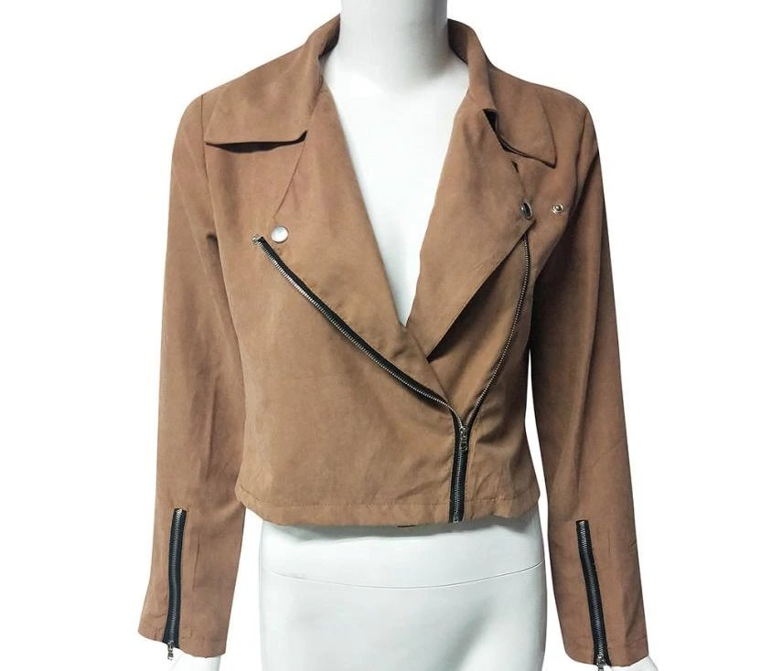 Women's Spring/Autumn Retro Zipped-Up Short Jacket With Rivets
